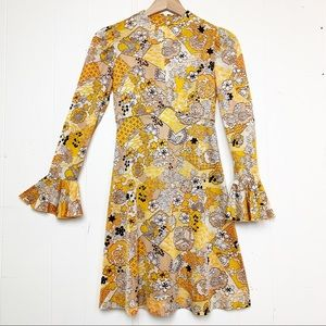 Vintage 1960's Lord & Taylor Yellow Floral Mini